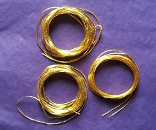 THICK GOLD THREAD SPECIAL SELECTION 15M, 5 METRES EA OF 0.7,1.0 +1.3mm GOLDWORK,
