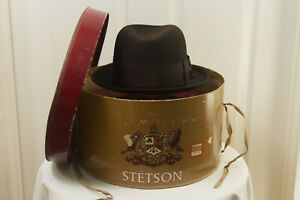 Stetson 20 Sovereign 1950s 1960s Vintage Fedora w Hat Box 7 1/4 Long Oval 58cm