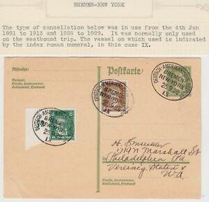 MARITIME 1928 *DEUTSCHE AMERIKANISCHE SEEPOST BREMEN-NEW YORK* post mark on pc