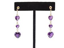 """Amethyst 3 Heart Dangle Post Earrings 2"""" Long Solid 14k Yellow Gold"""
