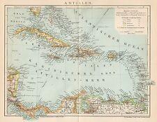 B6217 Antilles - Carta geografica antica del 1901 - Old map