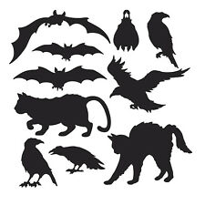 10 X Black Animal Silhouettes Halloween Party Cutout Room Wall Decorations