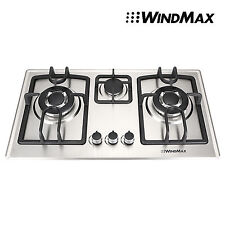 """28"""" Stainless Steel 3 Burners Built-In Gas Stove Natural Cooktop"""
