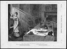 1875 antica stampa-Natale Belle Arti Foto per la pulizia domestica PARTY (285)