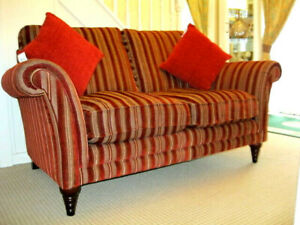 PARKER KNOLL BURGHLEY  2 SEATER SOFA IN RED BURGUNDY STRIPE FABRIC.RRP£1895