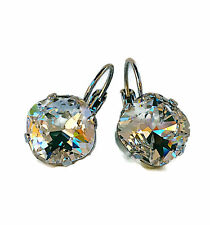 Clear Square Stone Cushion Cut Bridal Earrings with Crystal from Swarovski 12mm