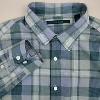 Perry Ellis Men's Button Up Shirt Long Sleeve Size XL Cotton Plaid Green Blue