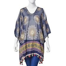 Navy Multi Coloured Poncho Style Top With Tassels Free Size