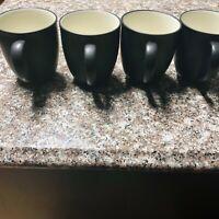 4 Noritake Colorwave Graphite Stoneware Mugs Coffee Tea Cups #8034 EUC Black