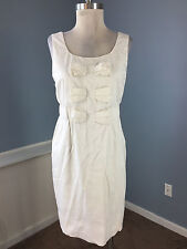 Phoebe Couture White Sheath dress Bow Exposed Zip Excellent Career Cocktail M 8