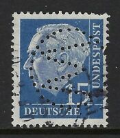 "Germany ""W"" in circle Perfin on 15pf. Heuss I stamp (DR Lochungen)"