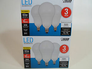 6 Pack LED CANDELABRA BASE small DAYLIGHT Feit 60W Equivalent  6.5W Light Bulbs