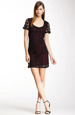 FRENCH CONNECTION Hope Lace Dress Women's size 10 Crochet Knit Black/Shiraz