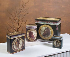 Vintage-Look Tin Food Safe Set /4 Western HORSE Canisters Flour Coffee Sugar Tea