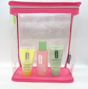 Set/4 Clinique Clarifying Lotion / Facial Soap / Dramatically Gel / Cosmetic Bag
