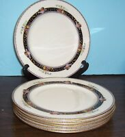 "6 LENOX CORONADO DINNER PLATES 10.5"" RAISED ENAMEL FRUIT & FLOWERS BLACK MARK"