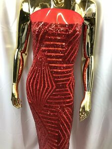 Geometric 2 Way Stretch Sequins Red Embroider On A Mesh Nightgown-Prom BTY