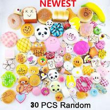 30Pcs Jumbo Mini Medium Random Squishy Soft Panda Bread Cake Buns Phone Straps