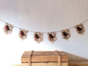 Christmas Robin Bunting Banner Hessian Burlap