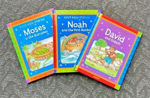 Childrens First Bible Stories Three Books Included Noah David Moses New