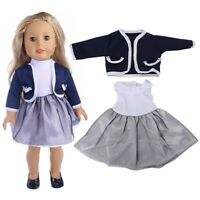Baby Fashionable Toy Accessories Dress Two-piece Suit for 18inch Doll Clothes#GD