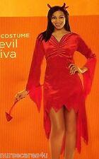 DEVIL DIVA HALLOWEEN COSTUME WOMEN'S SMALL  RED DRESS VELOUR SEQUIN HORNS,