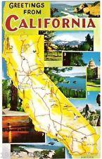Greetings From California classic Vintage Scenic Art postcard UNUSED mRoberts S