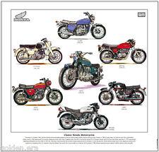 CLASSIC HONDA MOTORCYCLES - FINE ART PRINT  GL1000 CBX1000 400/4 C77 CB750 CB450