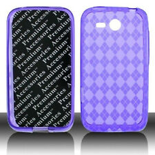 For HTC Freestyle TPU Candy Flexi Gel Crystal Skin Case Cover Purple Plaid