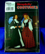 Simplicity 8855 Adult Highland Lady Costume SEWING Pattern sz 6-12 NEW UNCUT