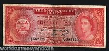 BELIZE $5 P35B 1976 QUEEN BIRD LIZARD SCARCE CARIBBEAN BANK NOTE