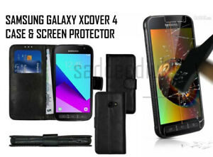 For Samsung Galaxy XCover 4 G390F Black Book Case and Glass Screen Protector