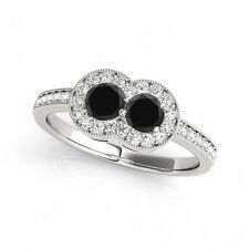 1.30 Cts Black AAA 2 Stone Diamond Solitaire Engagement Ring 14k White Gold