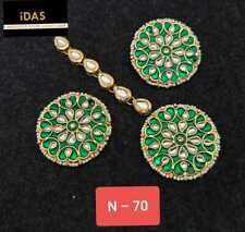 Gold Plated Bollywood Indian Meena Kundan Green Earrings Tikka Jewelry Set