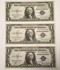 1935 C 3-$1 Silver Certificates Consecutive Crisp