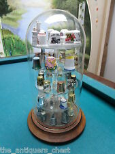 "Thimbles Collection under glass dome, 43 assorted thimbles, dome is 11"" tall[B]"