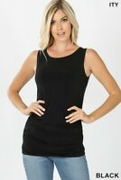 Women's sleeveless top side ruched casual solid tank top blouse black S-M-L-XL