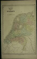 1850 LARGE ANTIQUE HAND COLOURED MAP ~ HOLLAND BRABANT UTRECHT GELDERLAND