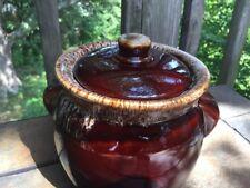 VINTAGE BROWN DRIP BEAN POT COOKIE JAR CANISTER KITCHEN HOME CROCK w lid ❤️J8