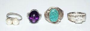 4x Vtg Silver Rings Sz 6.25/6.5/8/9.5 w. Amethyst C.z. Pearl Turquoise (SaR)#426