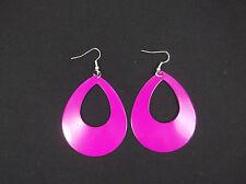 Ladies Neon Retro Hoop Earrings 1980's Fancy Dress Neon Teardrop Hoop Earrings
