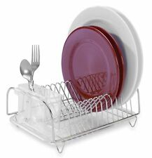 Small Compact Dish Rack Drainer Drying Tray Kitchen Sink Sturdy Dishes Organizer