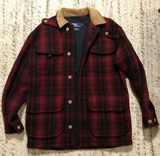 Vintage Polo Ralph Lauren Hunting Jacket Mens Size Small S Red Plaid Wool