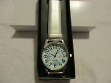 "AVON ""Whimsy Winter Printed-Face"" Watch Silvertone Shimmering F Leather 9""LStrap"