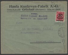 Germany Inflation August 1923 EF cover 20,000M on 200M