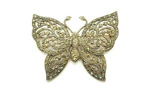 NF Thailand Sterling Silver 925 Marcasite Butterfly Pin Brooch