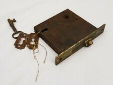 Rare Antique 19th C Mortise Deadbolt Lock With Key and Hardware