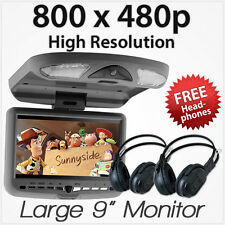 "9"" Car DVD USB Player Roof Mount Mounted Flip Down Monitor Screen Beige Sale AT"