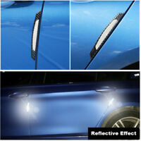4PCS Carbon Fiber Reflective White Car Side Door Edge Protection Guard Stickers