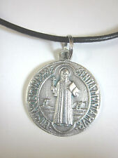"""Large St Benedict Jubilee Medal 1 1/4"""" Italy Pendant Necklace Leather Cord"""